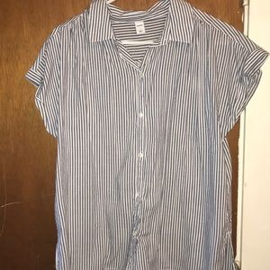 Striped Short Sleeve Button Up